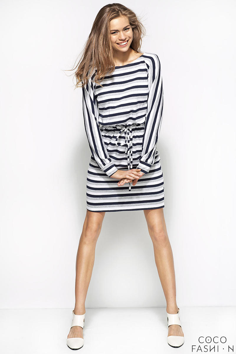 Grey White Navy Blue Striped Shirt Dress with Draw String Waist от cocofashion