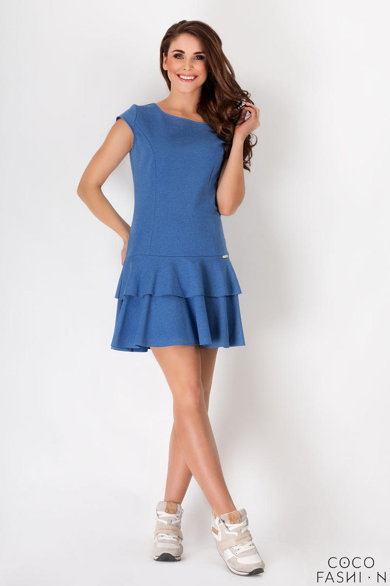 Blue Casual Mini Dress with Frills