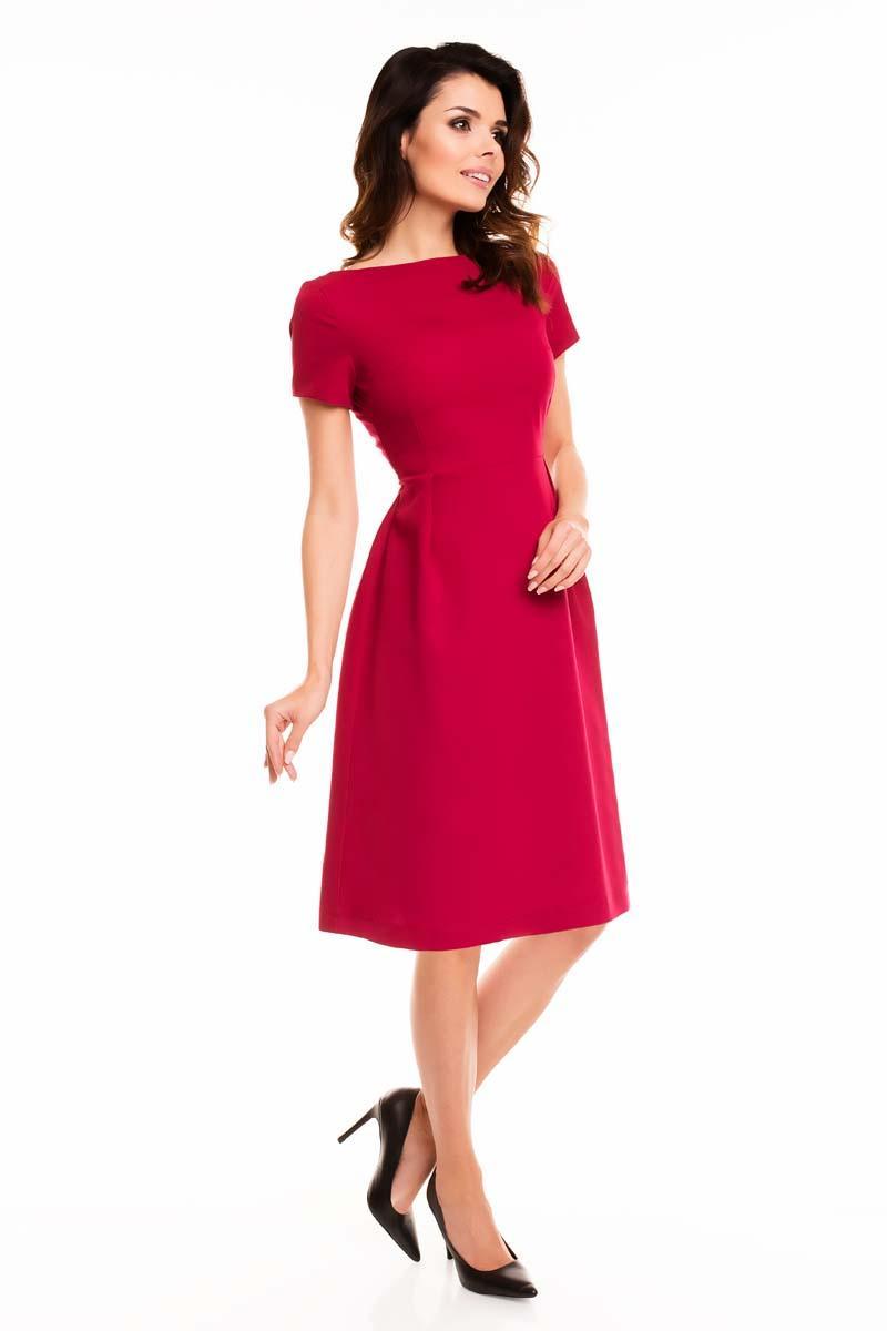 dark red short sleeves midi flared dress. Black Bedroom Furniture Sets. Home Design Ideas