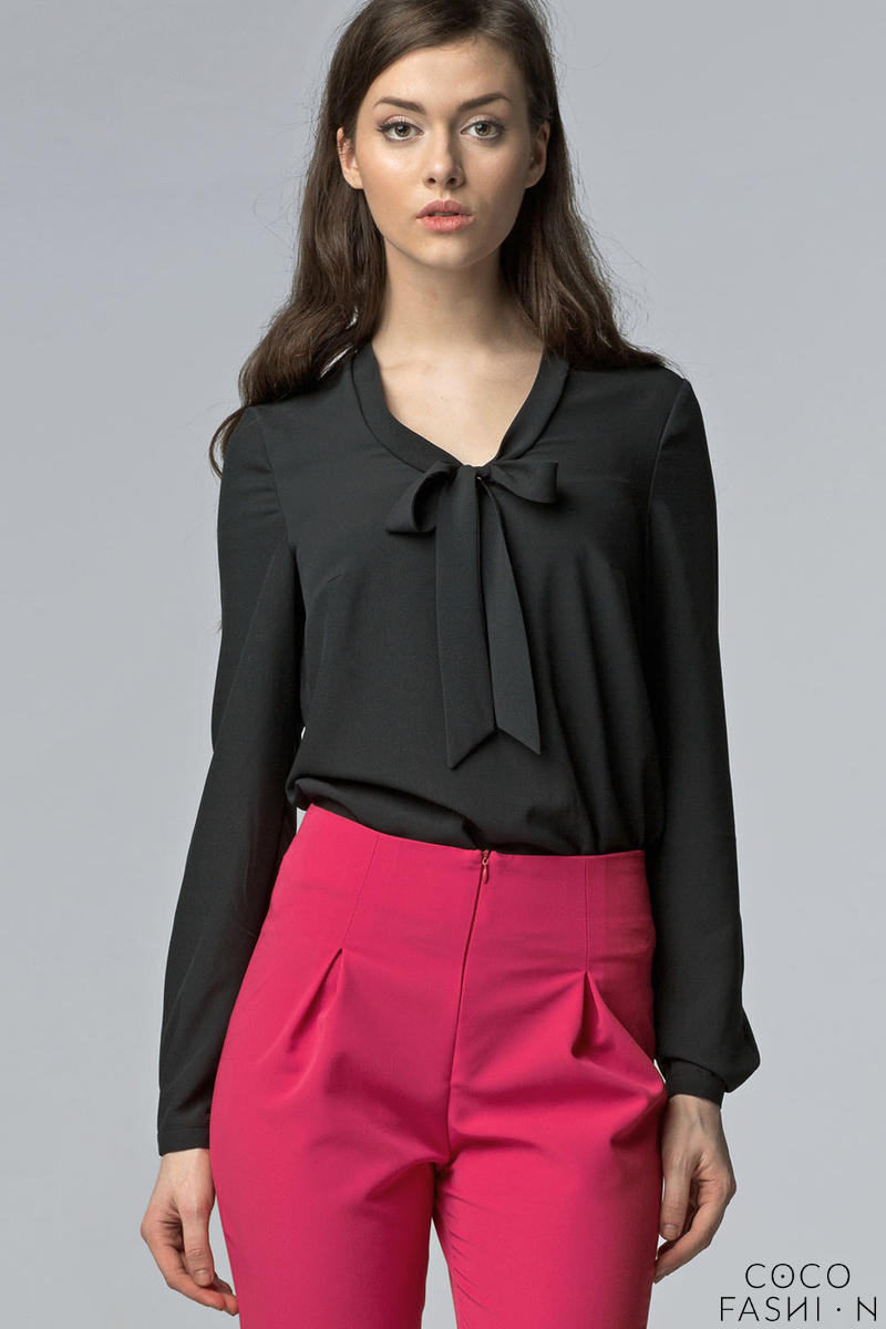 Black Chiffon Blouse with Bow Neckline and Long Sleeves