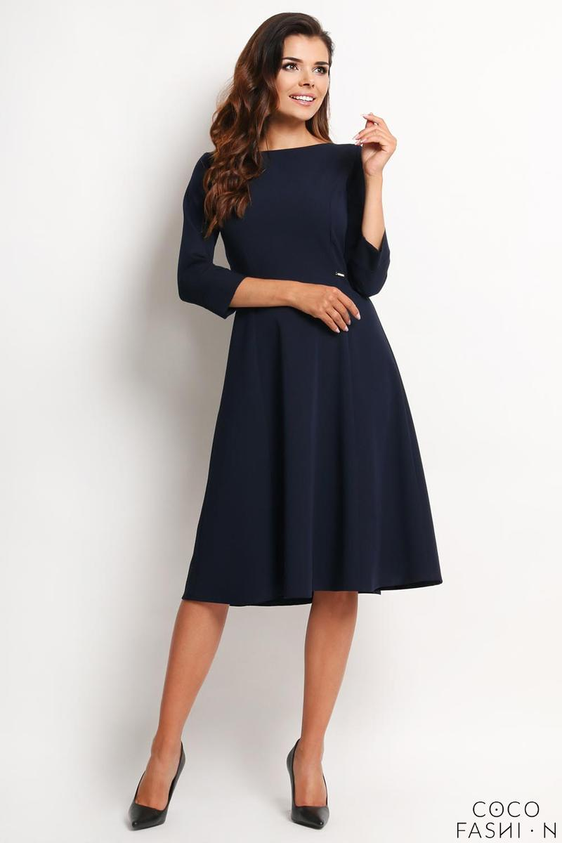 Dark Blue Elegant Classic 3/4 Sleeves Midi Dress