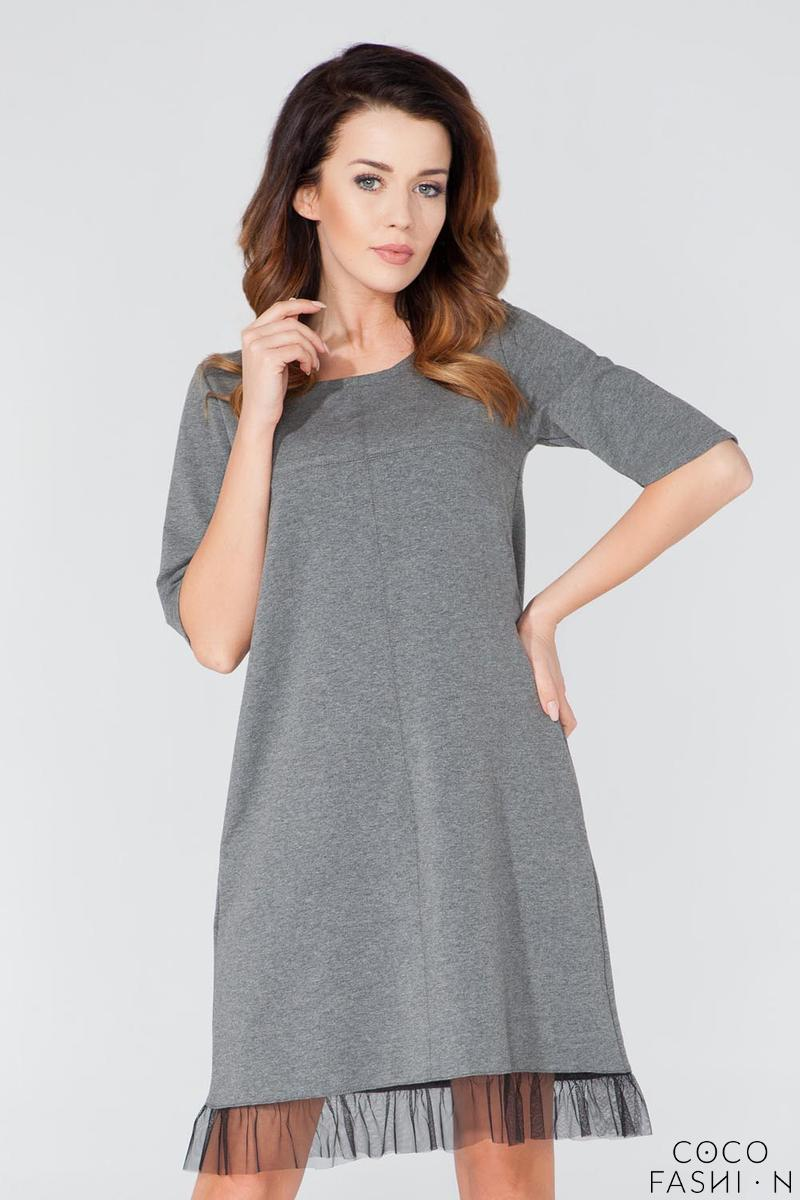 Grey 1/2 Sleeves Plain Dress with Tulle Edging