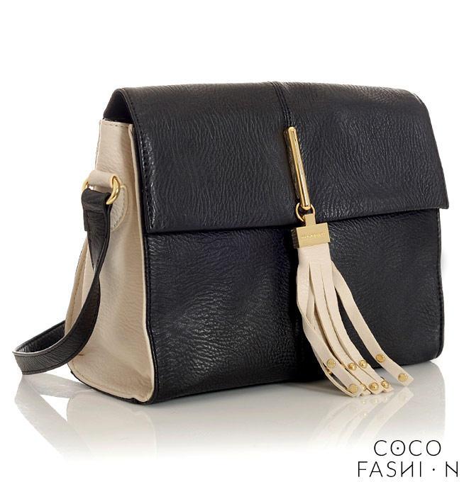 Black&Beige Ladies Shoulderbag with Fringe от cocofashion