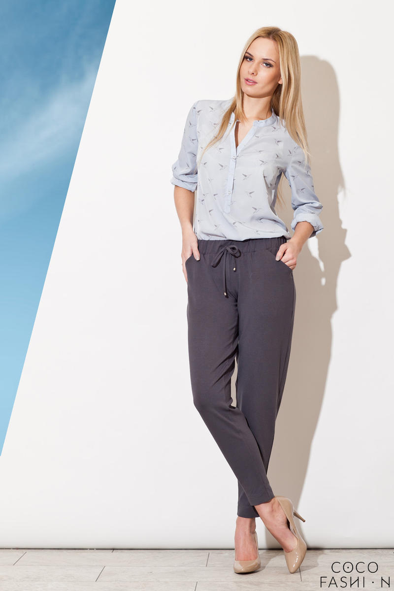 Pull String Grey Pants with Taperes Leg