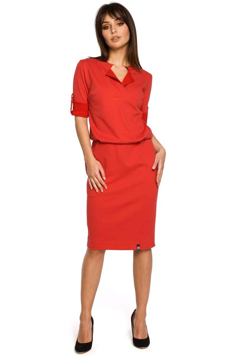 Red Knee Length Casual Dress