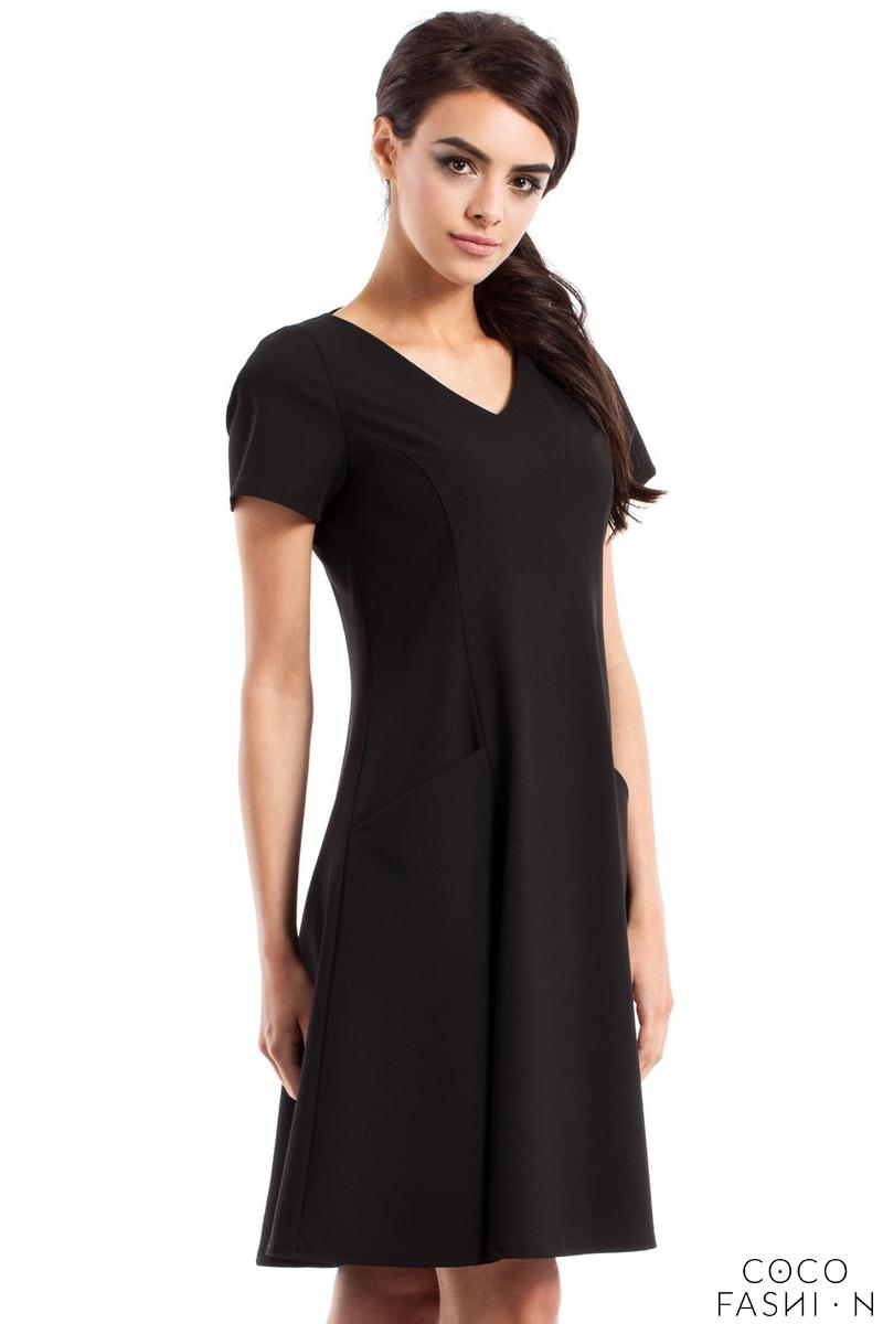 Black Flared Short Sleeves Dress with Front Pockets