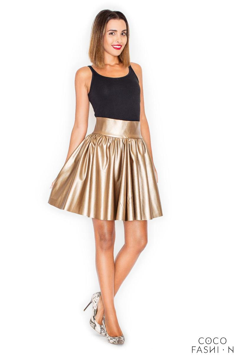 Gold Flared High Waistband Leather Imitation Mini Skirt