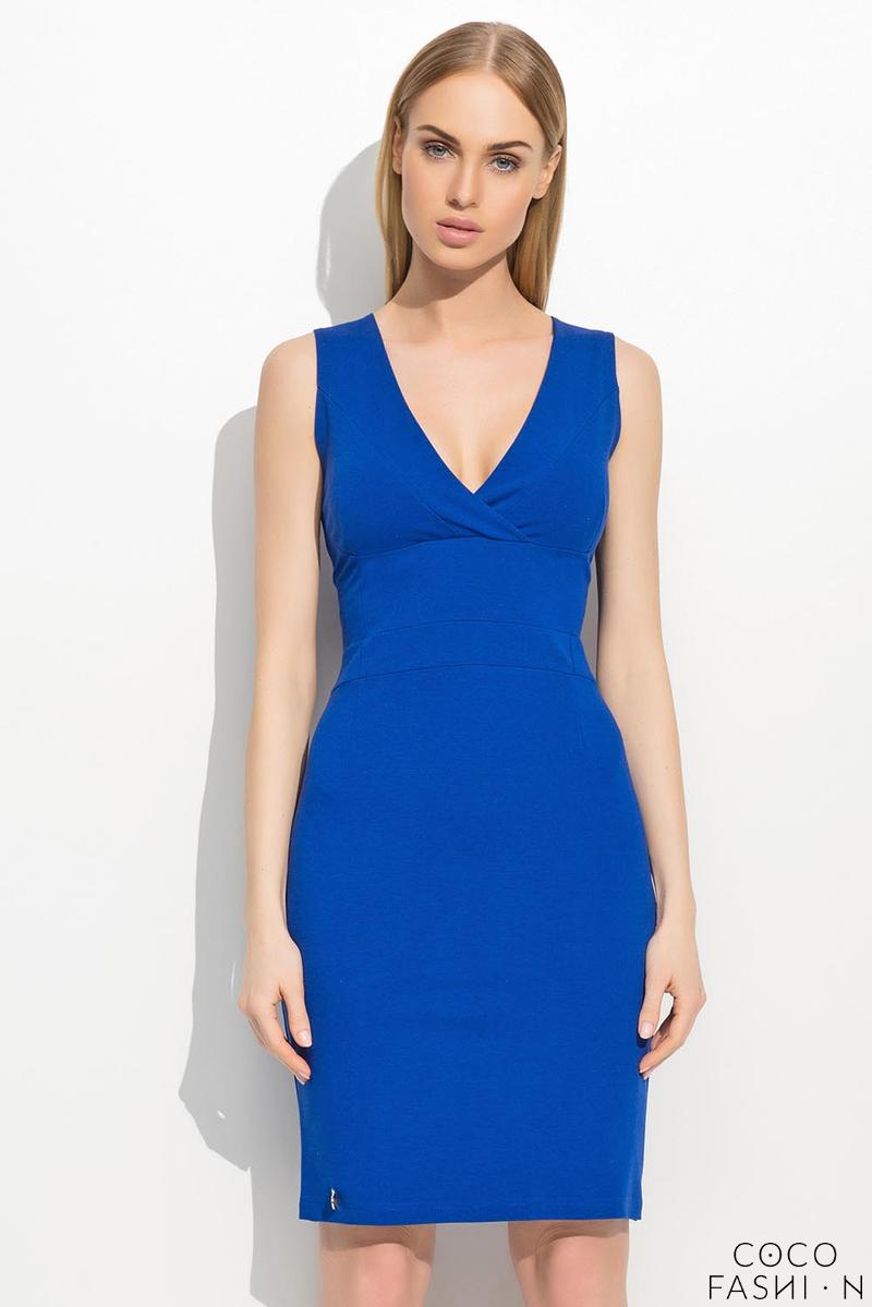 Blue Slim Waist V-Neckline Elagant Tube Coctail Dress