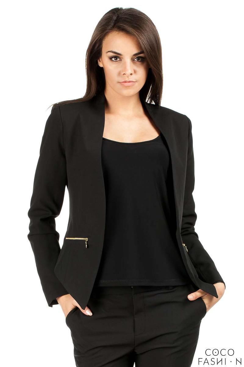 Black Unique Collar Women Blazer Jacket
