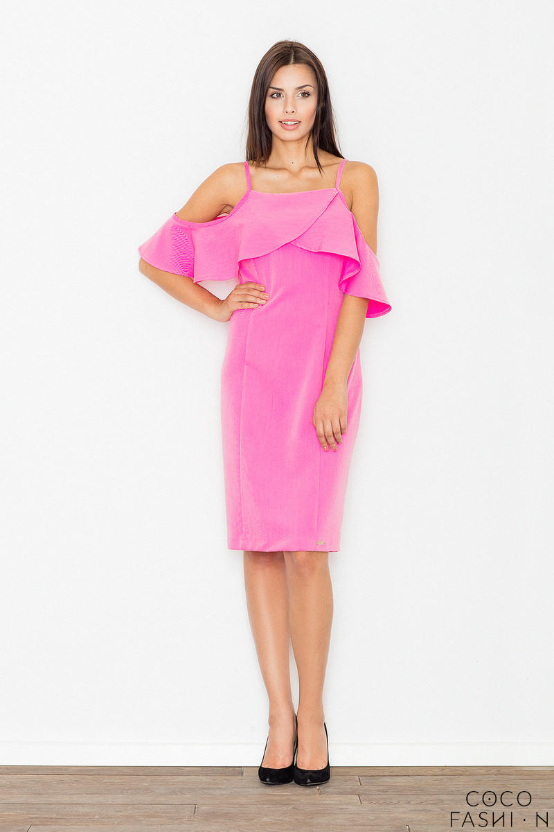 pink-spaghetti-straps-pencil-dress-with-a-frill
