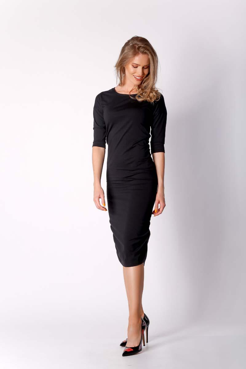 Black fitted midi dress with pleats at the sides