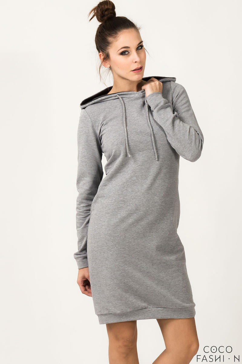 Light Grey Hooded Dress with Long Sleeves