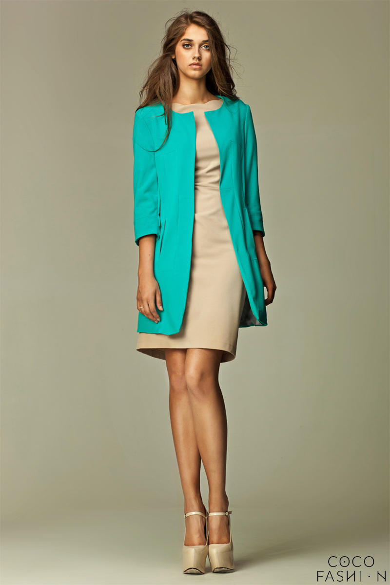 Straight Cut Round Neck Front Open Long Sky Blue Blazer