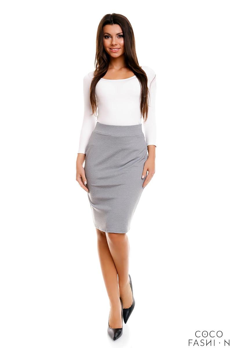 Grey Pencil Cut Office Style Skirt