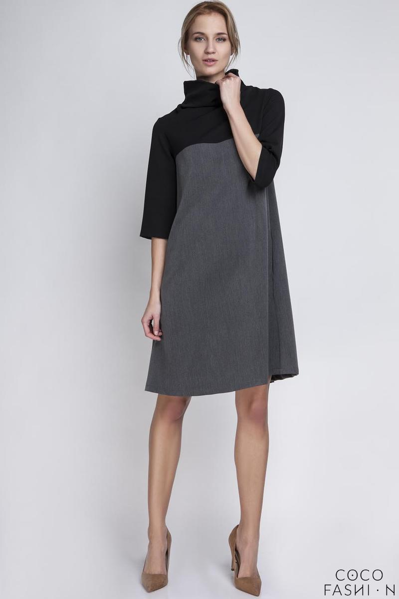 Grey&Black Tourtleneck Dress with Double Fold at The Back