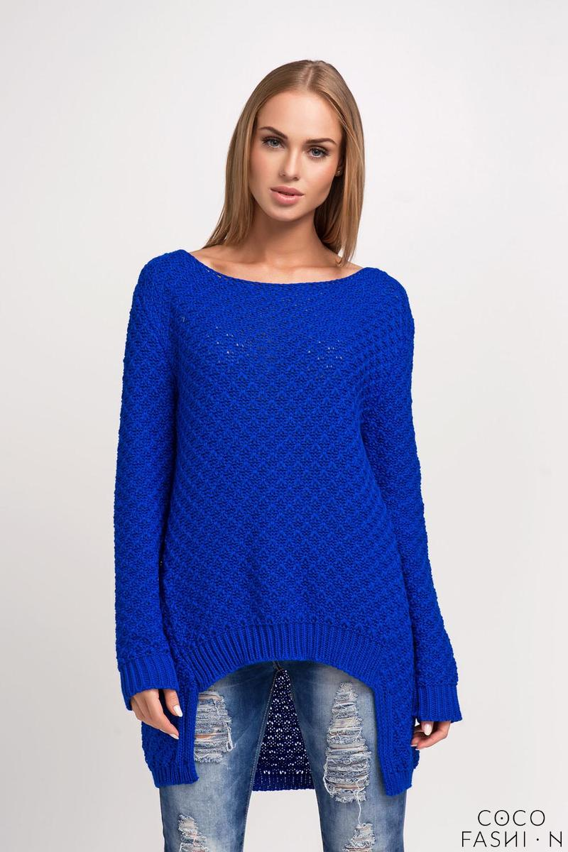 Blue Asymmetrical Sweater with Longer Back