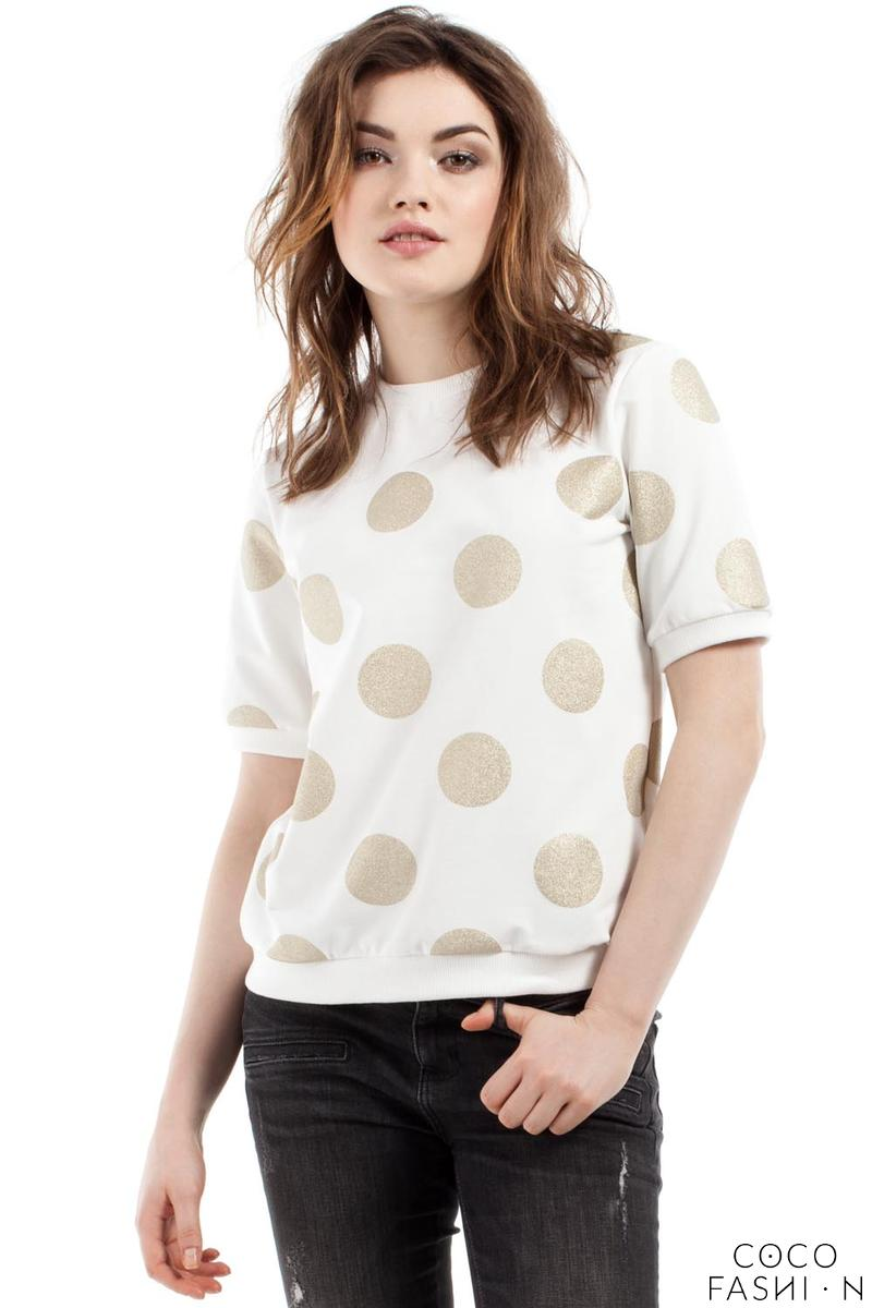 Ecru Polka Dott Short Sleeves Blouse