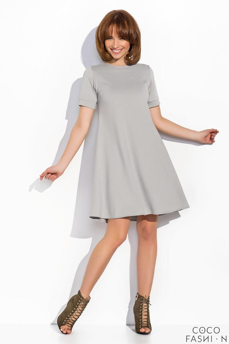 Grey Short Sleeves Mini Swing Dress