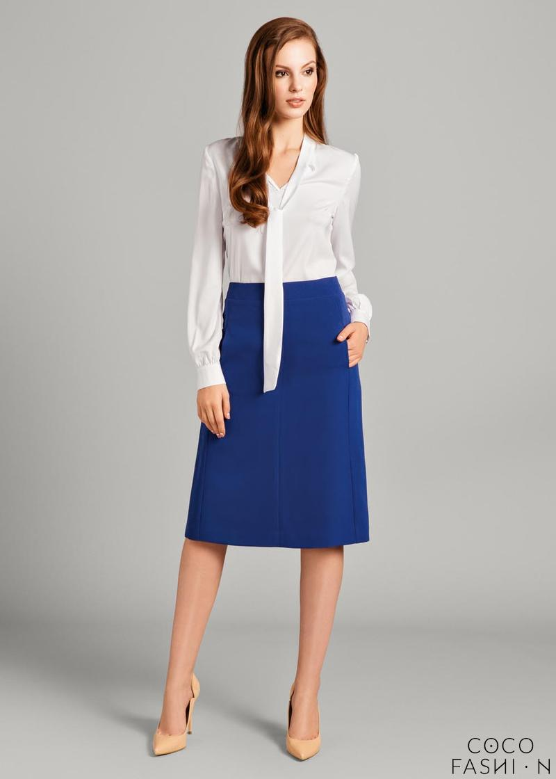 Blue Classic Office Style Flared Midi Skirt