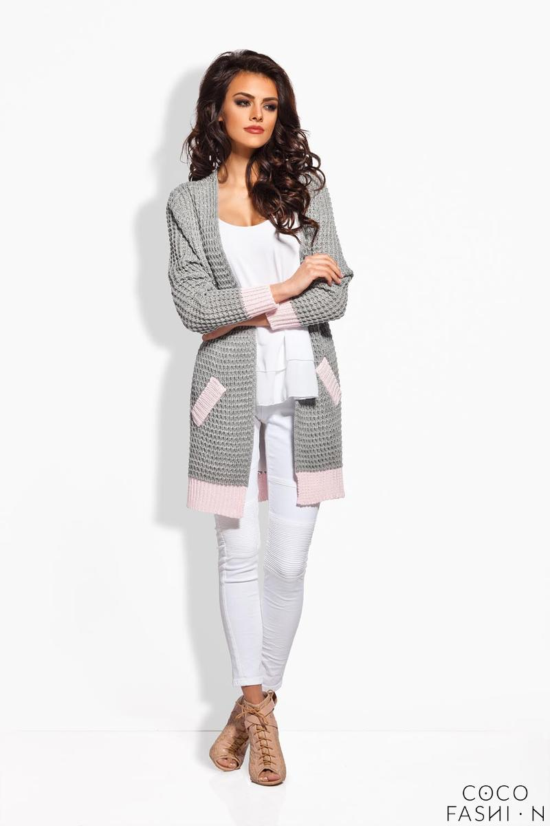 Lightgrey Long Cardigan with Contrasting Details