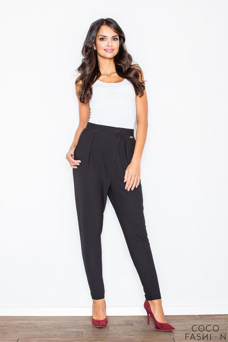 Black Tapered Legs Asymetrical Closure Casual Pants