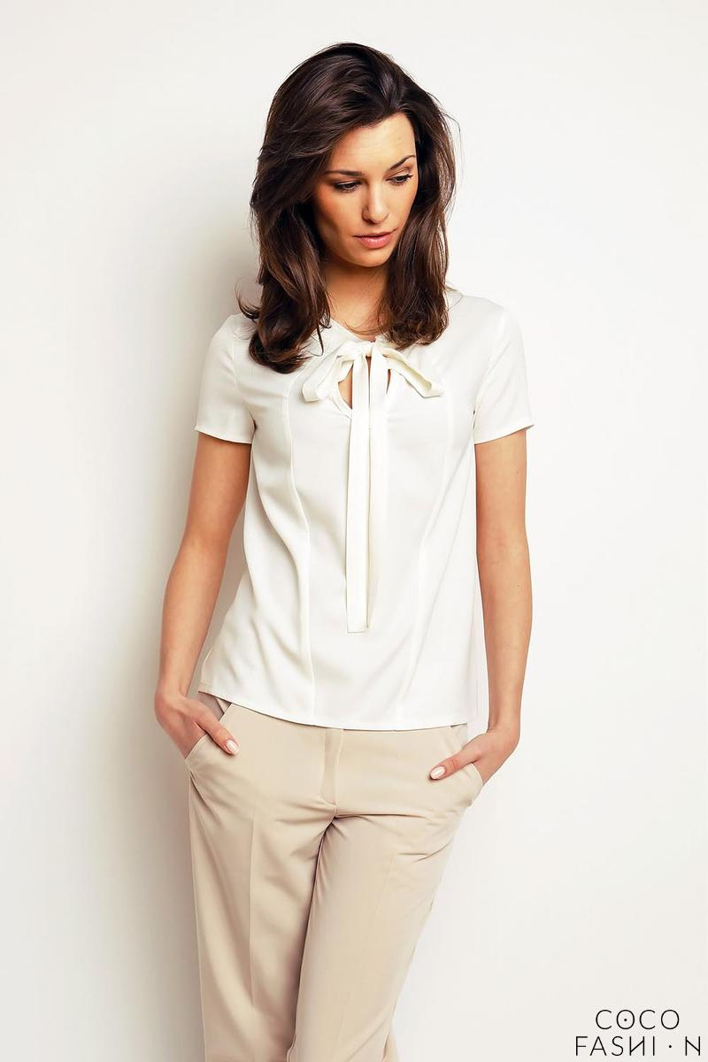 Ecru Self Tie Bow Short Sleeves Blouse