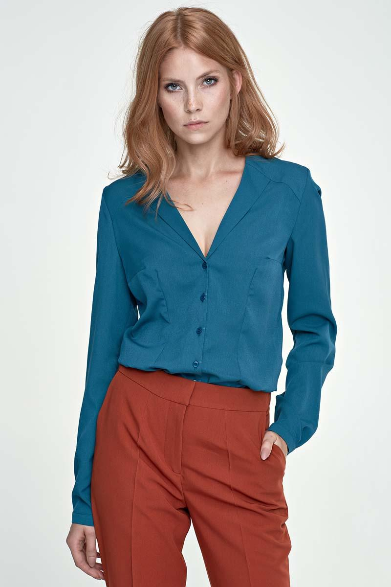 Green V-Neck Elegant Office Style Shirt