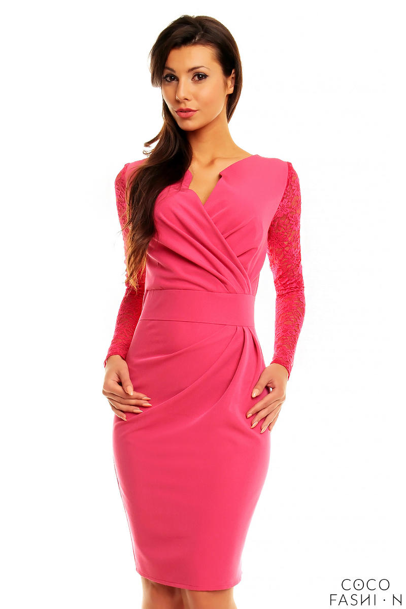 Pink Elegant Lace Sleeves Slim Waist Evening Dress