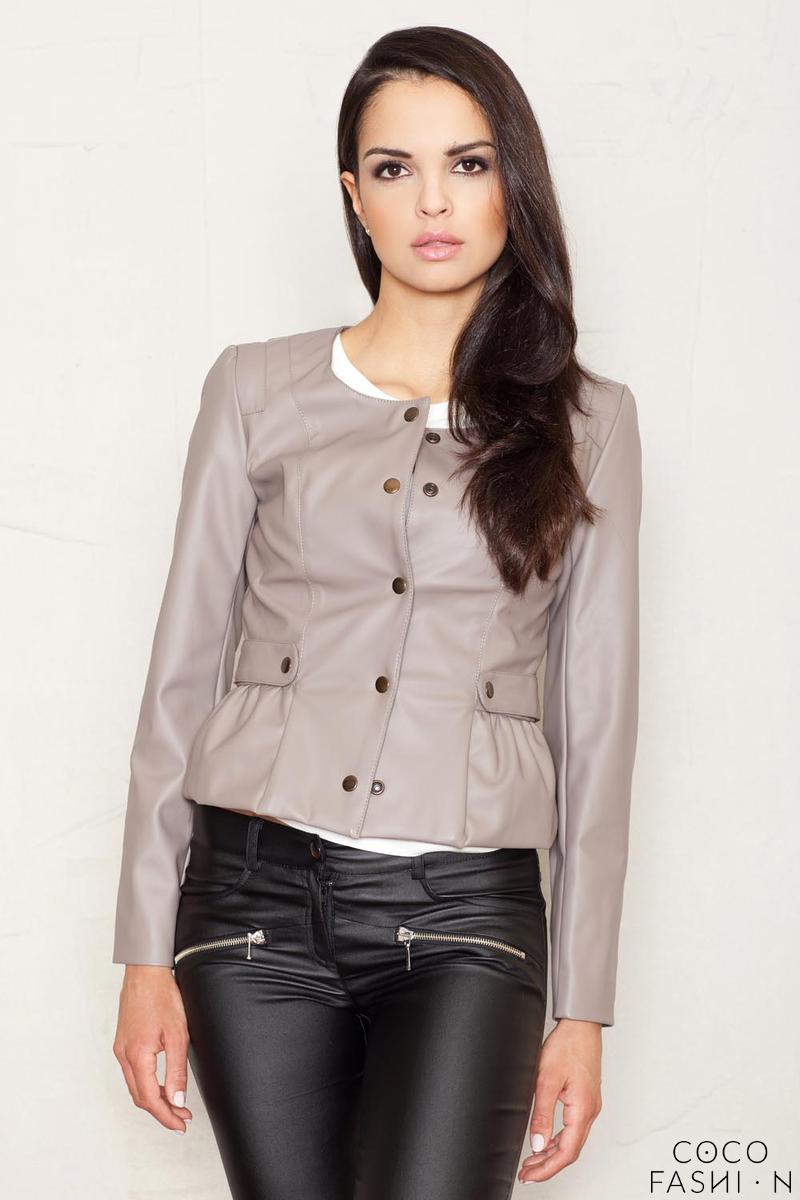 Crop Leather Coffee Jacket with Snap Button Closure