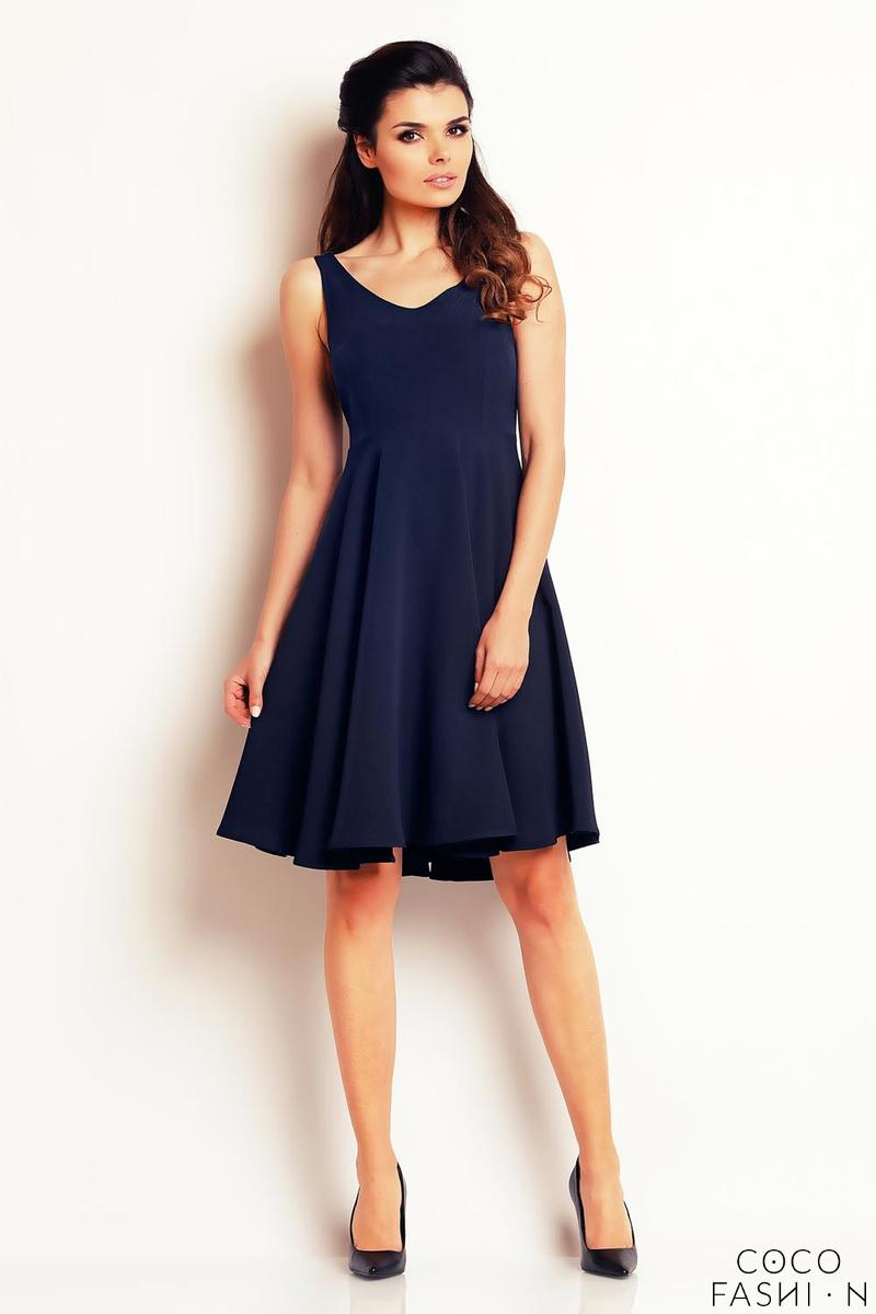 Dark Blue Flared&Light Pleats Summer Dress
