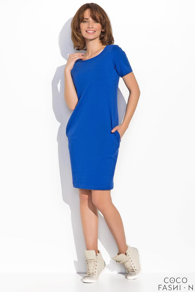 Blue Classic Casual Dress with Pockets
