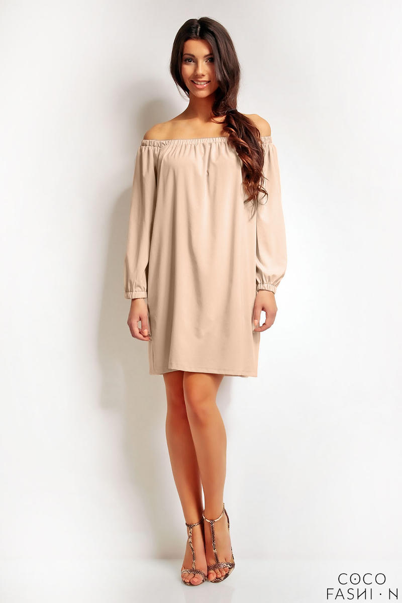 Beige Boho Chic Elastic Off SHoulder Neckline Dress