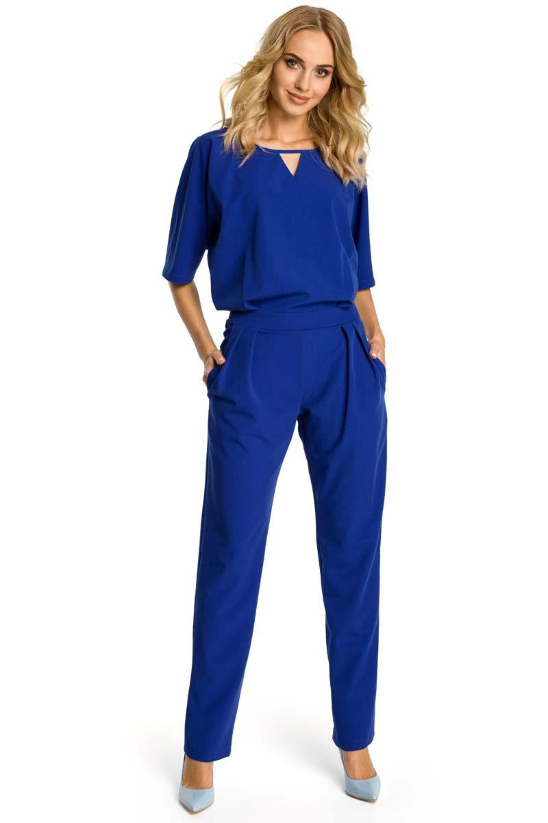Navy Elegant Jumpsuit Short Sleeves