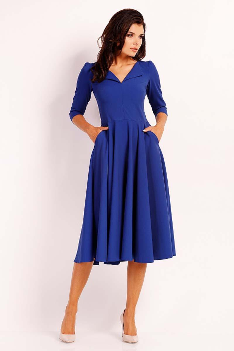 Blue Dress Flared Midi With Collar