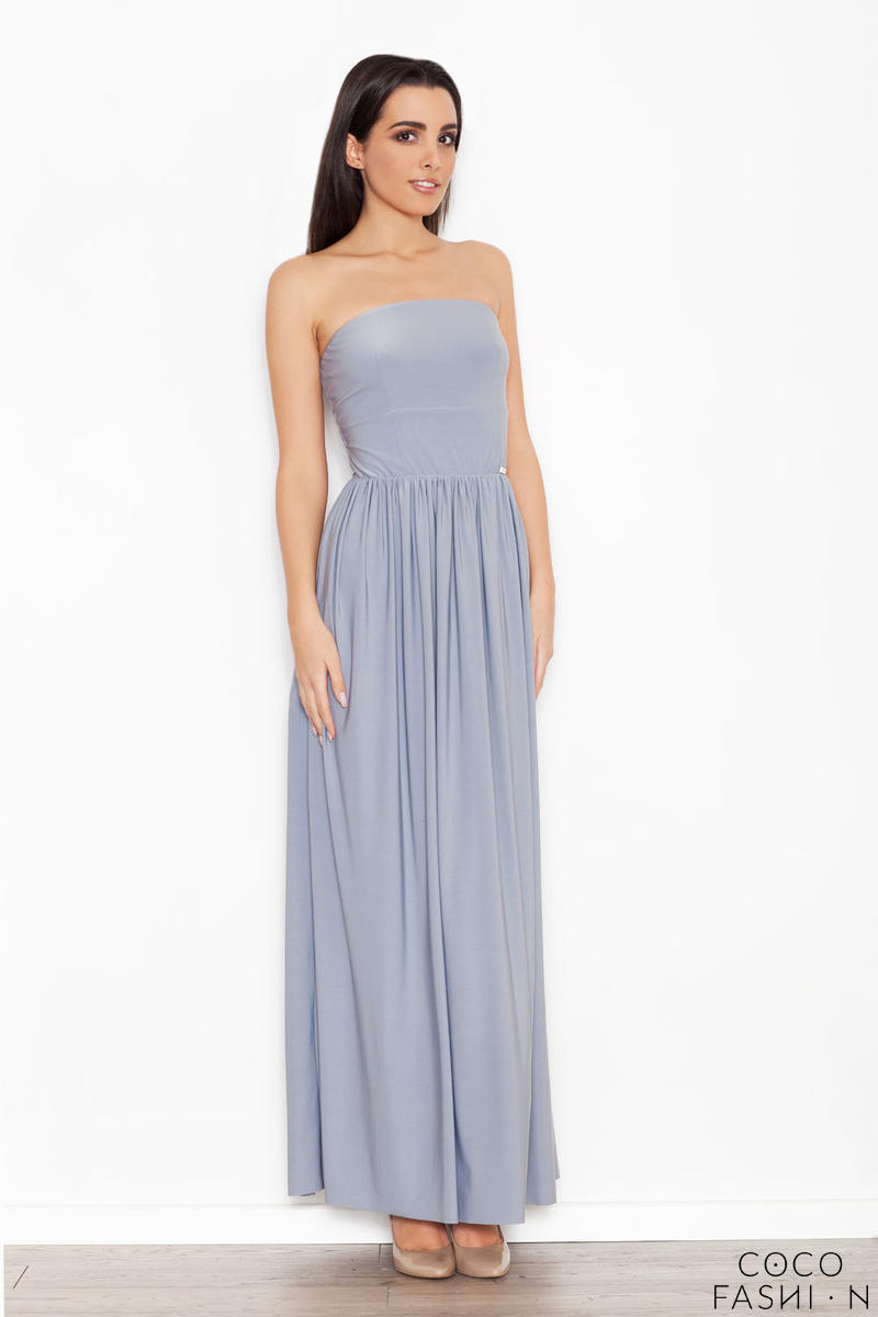 Grey Bandeau Maxi Dress with Side Slit