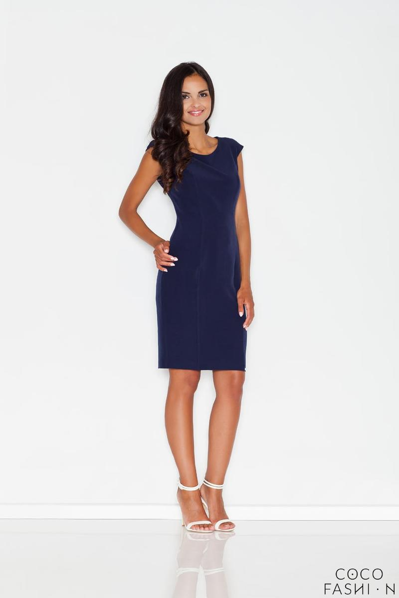 Blue Straight Midi Dress with Pierces