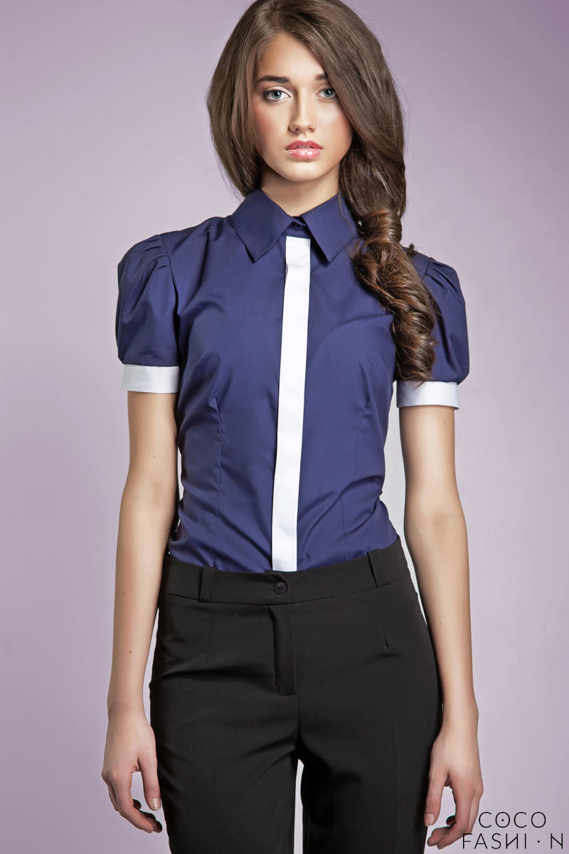Pleated Puffed Shoulder Collared Navy Blue Shirt with Contrast Trim