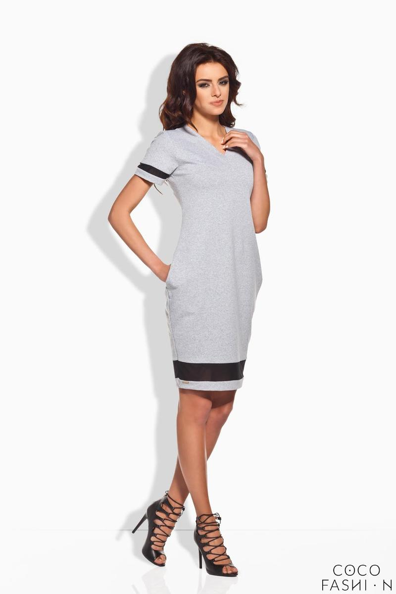 Light Grey Casual Dress with Transparent Details