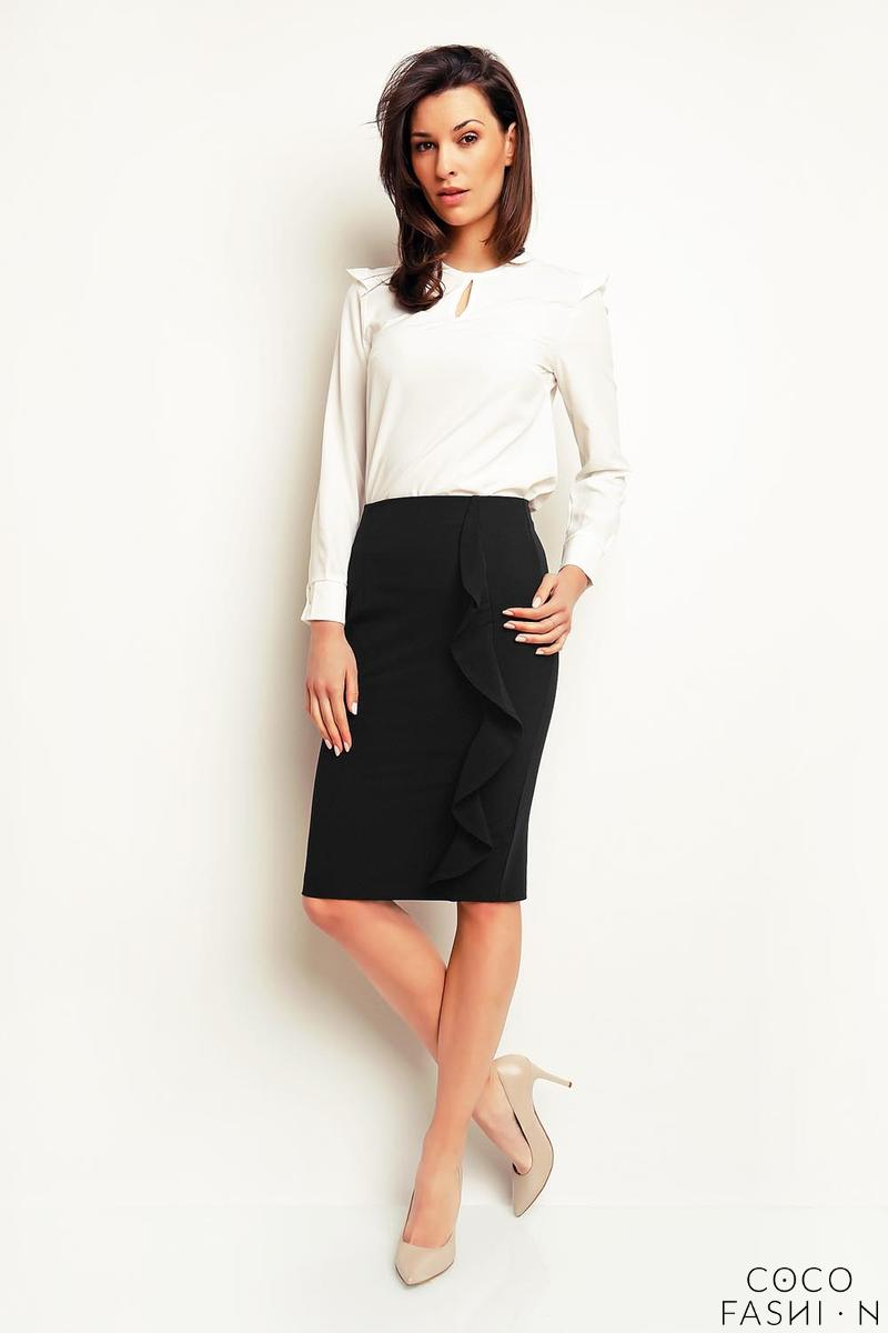 Black Pencil Midi Skirt with a Frill