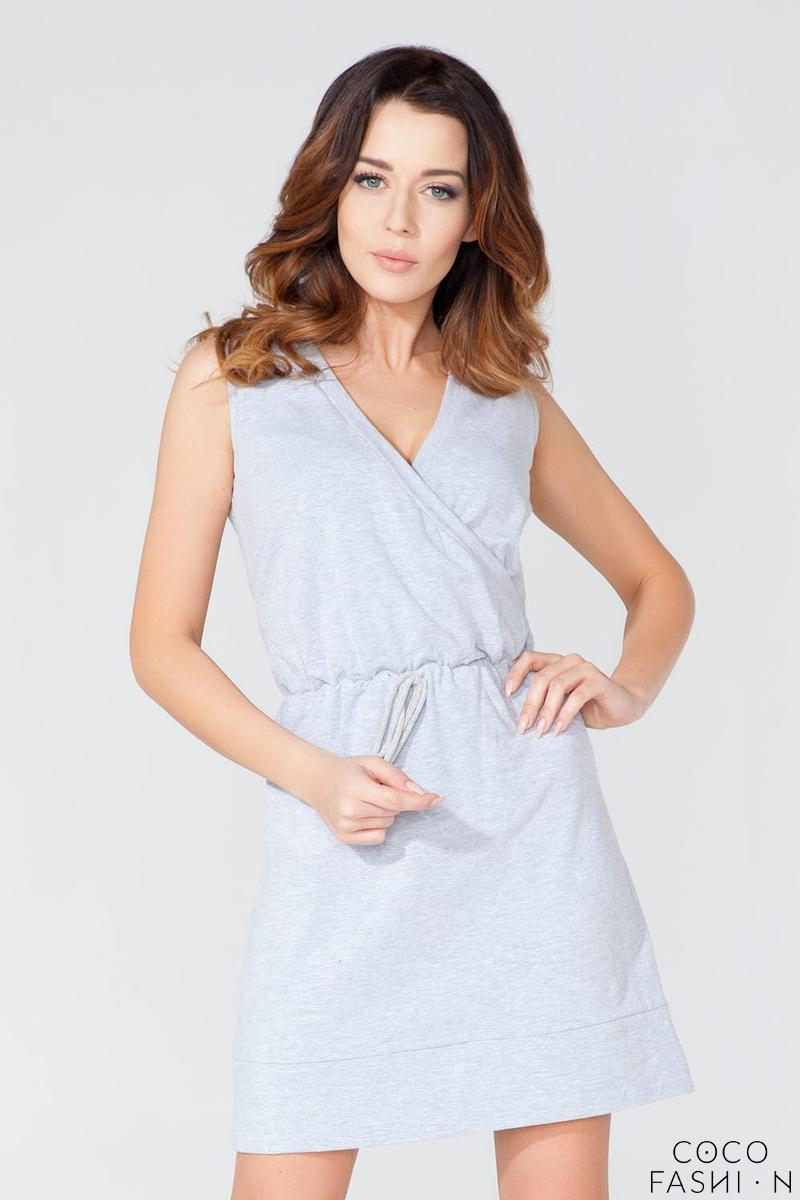 Light Grey Casual V-Neckline Drawstring Waist Dress