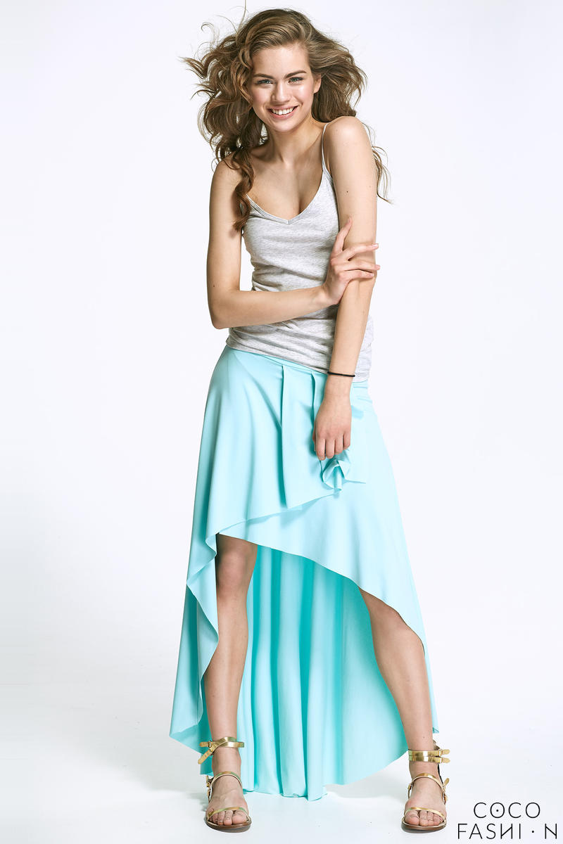 Lazure Blue Asymetrical Maxi Frilled Skirt