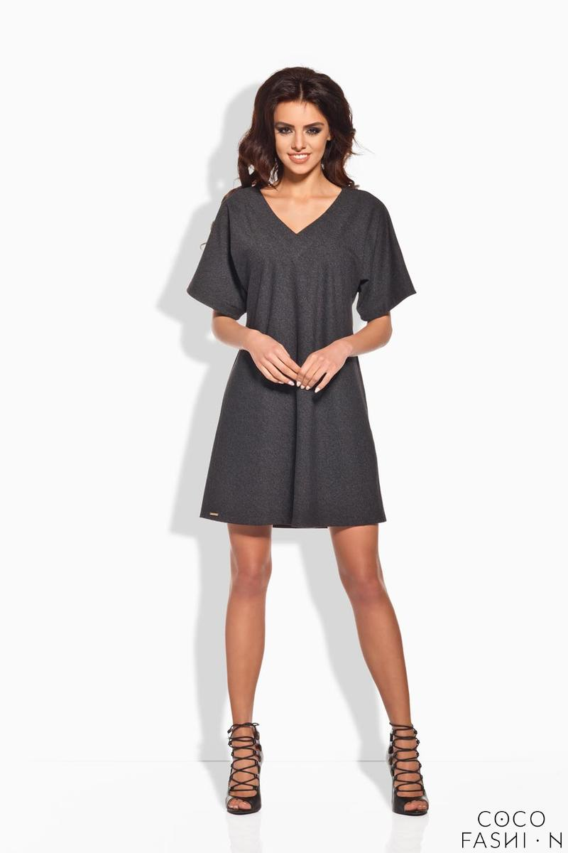 Dark Grey Relaxed Fit Short SLeeves Mini Dress