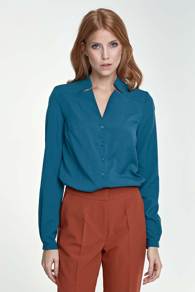 Lazur Blue V-Neckline and Classic Collar Shirt