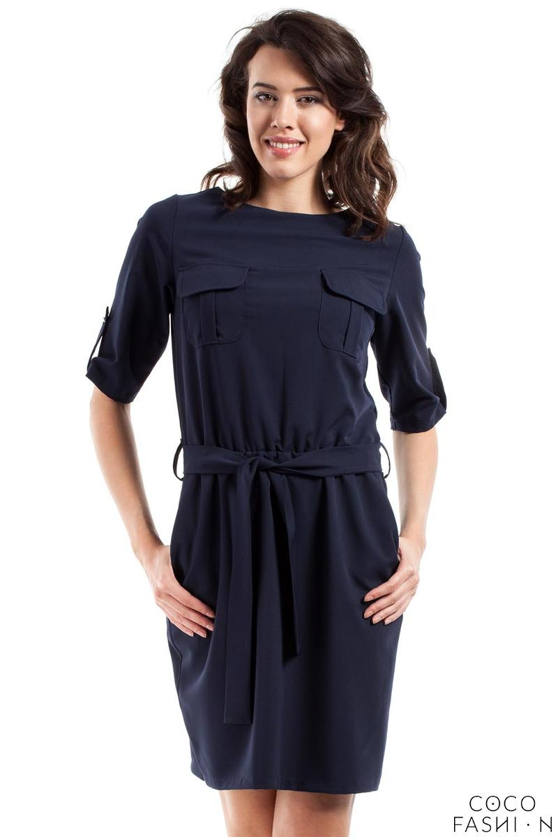 Dark Blue Casual Rolled-up Sleeves Mini Dress