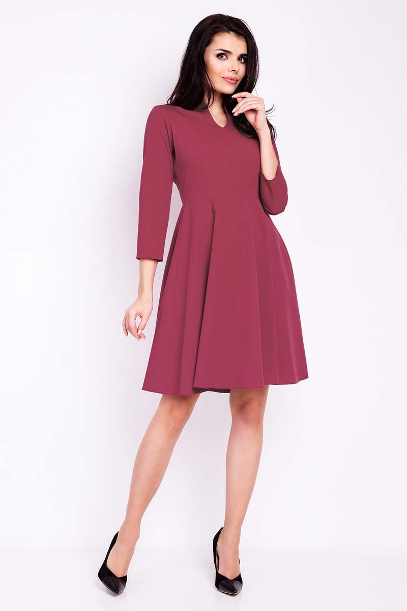 Maroon Blue V-Neckline Flared Dress