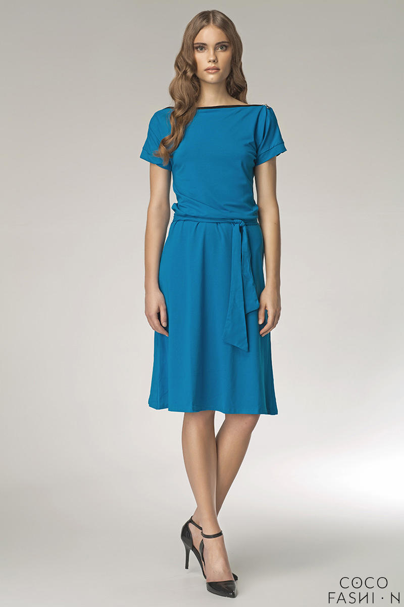 blue-bateau-neck-self-belted-shift-dress