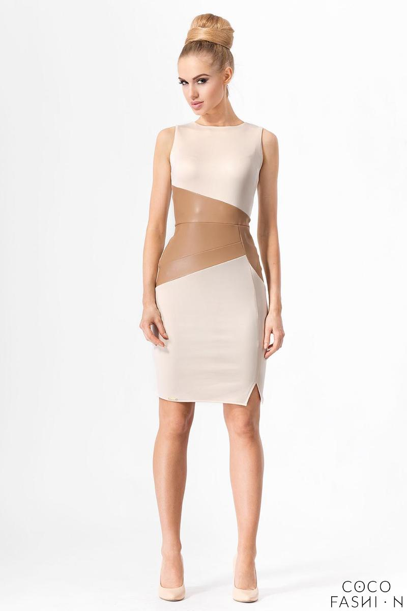 Beige Elegant Dress with SLimming Leather Pannel