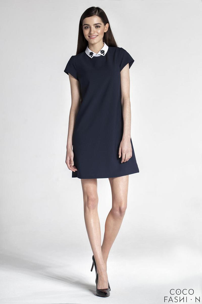 Dark Blue Simple Dress with Contrasting Collar