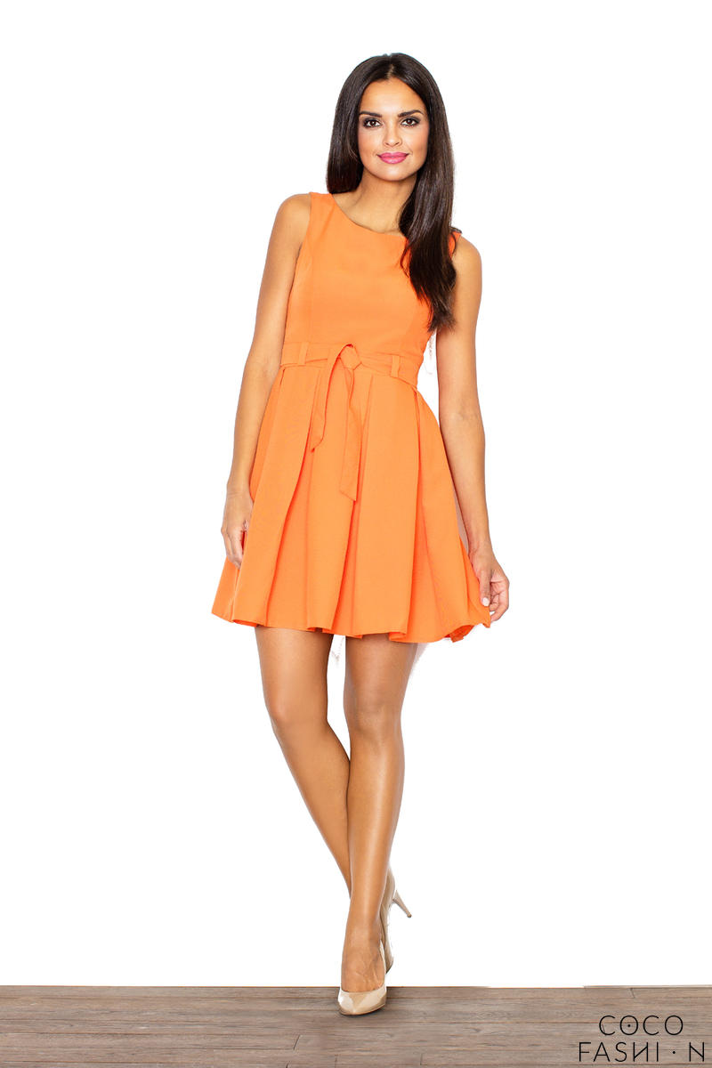 pleated-belted-sleeveless-orange-dress-with-seamed-top