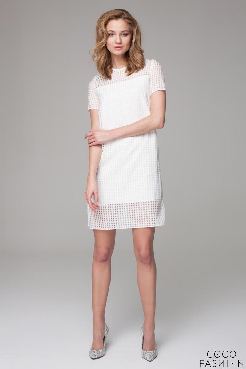 Ecru Classic Short Seeves Mini Dress